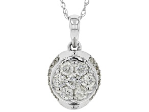 White Diamond 10K White Gold Cluster Pendant With Rope Chain 0.45ctw