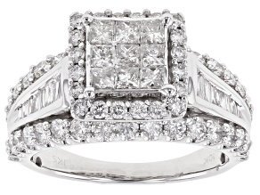 White Diamond 10K White Gold Quad Ring 2.00ctw