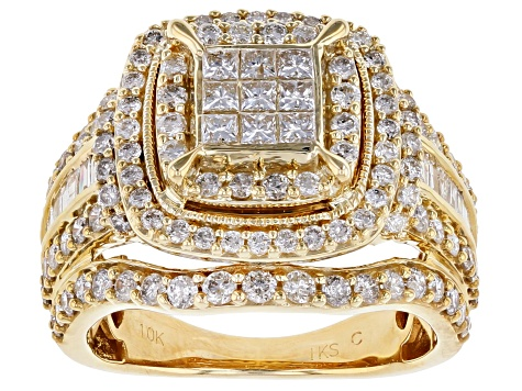 White Diamond 10K Yellow Gold Quad Ring 2.00ctw