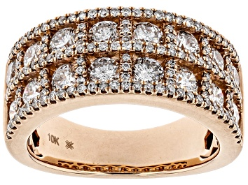 Picture of White Diamond 10K Rose Gold Wide Band Ring 2.30ctw