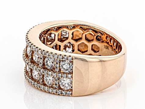 White Diamond 10K Rose Gold Wide Band Ring 2.30ctw