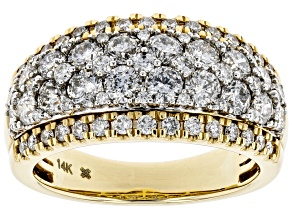White Diamond 14K Yellow Gold Wide Band Ring 2.00ctw