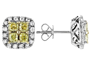 Natural Yellow And White Diamond 14K White Gold Cluster Earrings 2.00ctw
