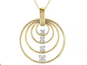 White Diamond 10K Yellow Gold Circle Pendant With Chain 0.20ctw