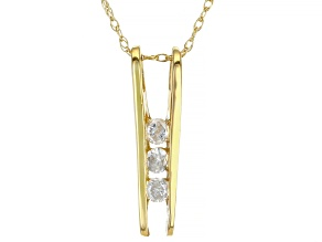 White Diamond 14K Yellow Gold 3-Stone Pendant With Chain 0.15ctw