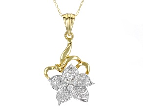 White Diamond 10K Yellow Gold Flower Pendant With Chain 0.10ctw