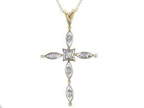 White Diamond Accent 10K Yellow Gold Cross Pendant With Chain