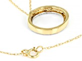 White Diamond Accent 10K Yellow Gold Circle Pendant With Chain