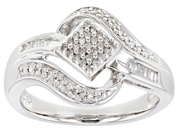 Picture of White Diamond Rhodium Over Sterling Silver Bypass Ring 0.15ctw