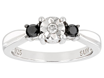 Picture of Black And White Diamond Rhodium Over Sterling Silver 3-Stone Ring 0.25ctw