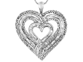 White Diamond Rhodium Over Sterling Silver Heart Pendant With Chain 1.00ctw