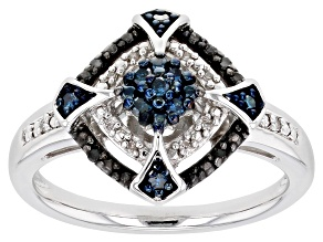 Blue Black And White Diamond Rhodium Over Sterling Silver Cluster Ring 0.15ctw