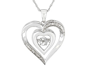 White Diamond Accent Rhodium Over Sterling Silver Dancing Diamond Heart Pendant With Chain
