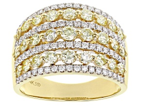 Natural Yellow And White Diamond 14K Yellow Gold Multi-Row Ring 2.00ctw