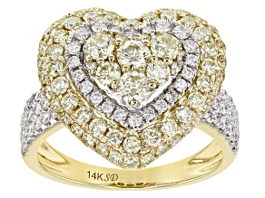 Natural Yellow And White Diamond 14K Yellow Gold Heart Cluster Ring 1.95ctw