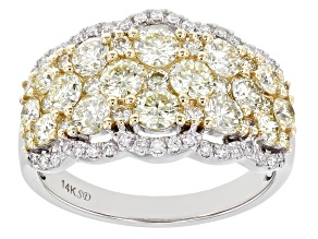 Natural Yellow And White Diamond 14K White Gold Wide Band Ring 2.00ctw