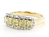 Natural Yellow And White Diamond 14K Yellow Gold Band Ring 1.35ctw