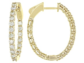 Natural Yellow Diamond 14K Yellow Gold Hoop Earrings 3.00ctw
