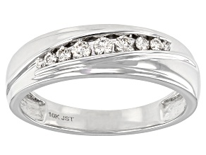 White Diamond 10K White Gold Mens Ring 0.25ctw