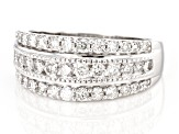 White Diamond 10K White Gold Wide Band Ring 1.00ctw