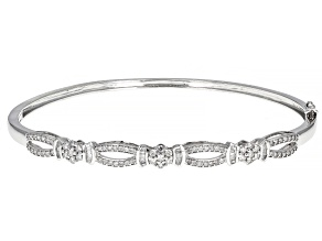 White Diamond 10k White Gold Bangle Bracelet 0.75ctw
