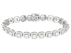 White Diamond Rhodium Over Sterling Silver Tennis Bracelet 1.00ctw