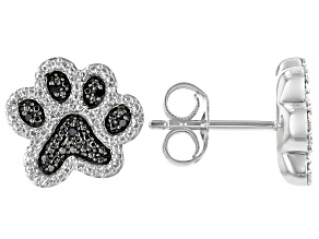 Black And White Diamond Accent Rhodium Over Sterling Silver Paw Print Cluster Earrings