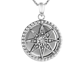 White Diamond Accent Rhodium Over Sterling Silver Compass Medallion Pendant With Box Chain