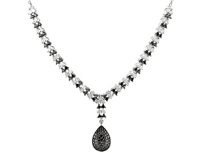 Black Diamond Rhodium Over Sterling Silver Y Necklace 1.00ctw