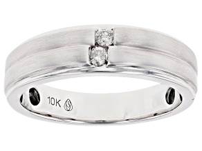 White Diamond 10K White Gold Mens Ring 0.10ctw
