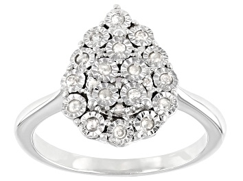 Picture of White Diamond Rhodium Over Sterling Sliver Cluster Ring 0.20ctw