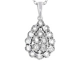 White Diamond Rhodium Over Sterling Silver Cluster Pendant With Chain 0.20ctw