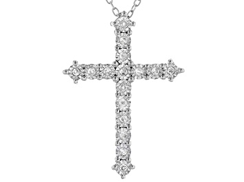 Picture of White Diamond Rhodium Over Sterling Silver Cross Pendant With Chain 0.20ctw
