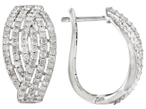 White Diamond 10K White Gold Hoop Earrings 2.50ctw