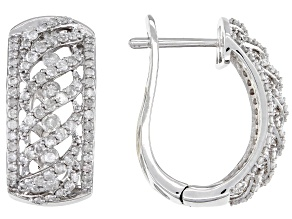White Diamond 10K White Gold Hoop Earrings 1.90ctw