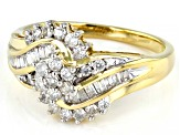 White Diamond 10K Yellow Gold Bypass Cluster Ring 0.50ctw