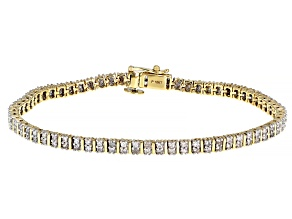 Round White Diamond 10K Yellow Gold Tennis Bracelet 1.25ctw