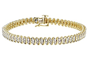 Round White Diamond 10K Yellow Gold Tennis Bracelet 1.65ctw