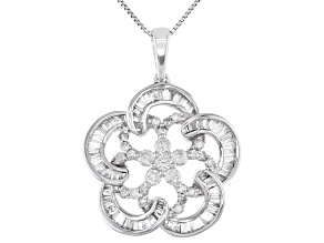White Diamond 10K White Gold Flower Pendant With Chain 0.80ctw