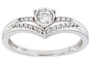 White Diamond 10k White Gold Chevron Band Ring 0.33ctw