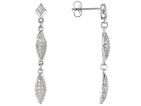 White Diamond 14K White Gold Dangle Earrings 0.50ctw
