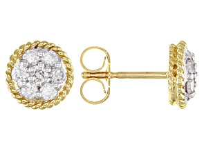 White Diamond 10k Yellow Gold Cluster Stud Earrings 0.33ctw