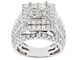 White Diamond 14k White Gold Quad Ring 4.00ctw