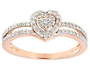 White Diamond 10k Rose Gold Heart Promise Ring 0.33ctw