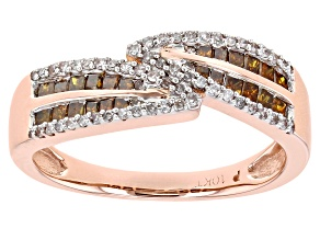Cognac And White Diamond 10K Rose Gold Bypass Ring 0.50ctw