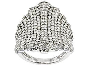 White Diamond 10K White Gold Cocktail Ring 2.25ctw