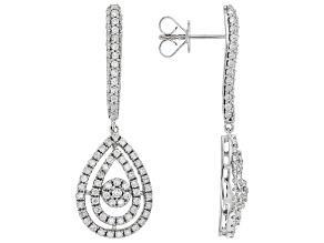 White Diamond 10K White Gold Dangle Earrings 1.50ctw