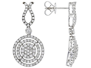 White Diamond 10K White Gold Dangle Earrings 1.60ctw