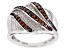 Red Diamond Rhodium Over Sterling Silver Bridge Ring 0.25ctw