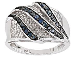 Blue Diamond Rhodium Over Sterling Silver Bridge Ring 0.25ctw